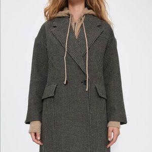 ZARA - Houndstooth Wool Blend Coat